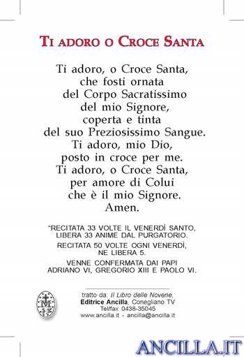 Ti adoro o Croce Santa